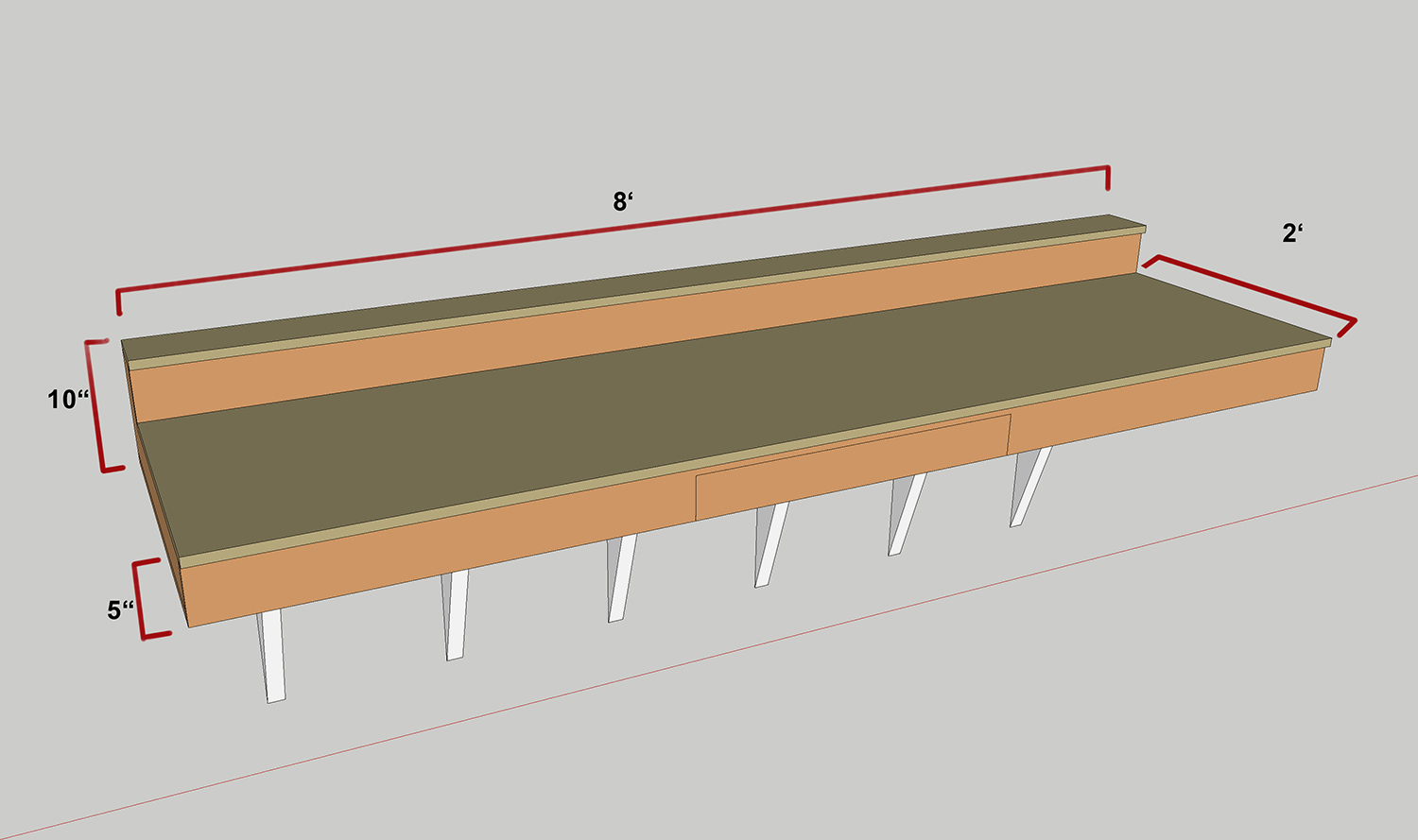 The Desk Will Be Built With 3 4 And 1 2 Birch Plywood 2x4 S Heavy Duty Wall Brackets Here Is A Rough Idea Of Design
