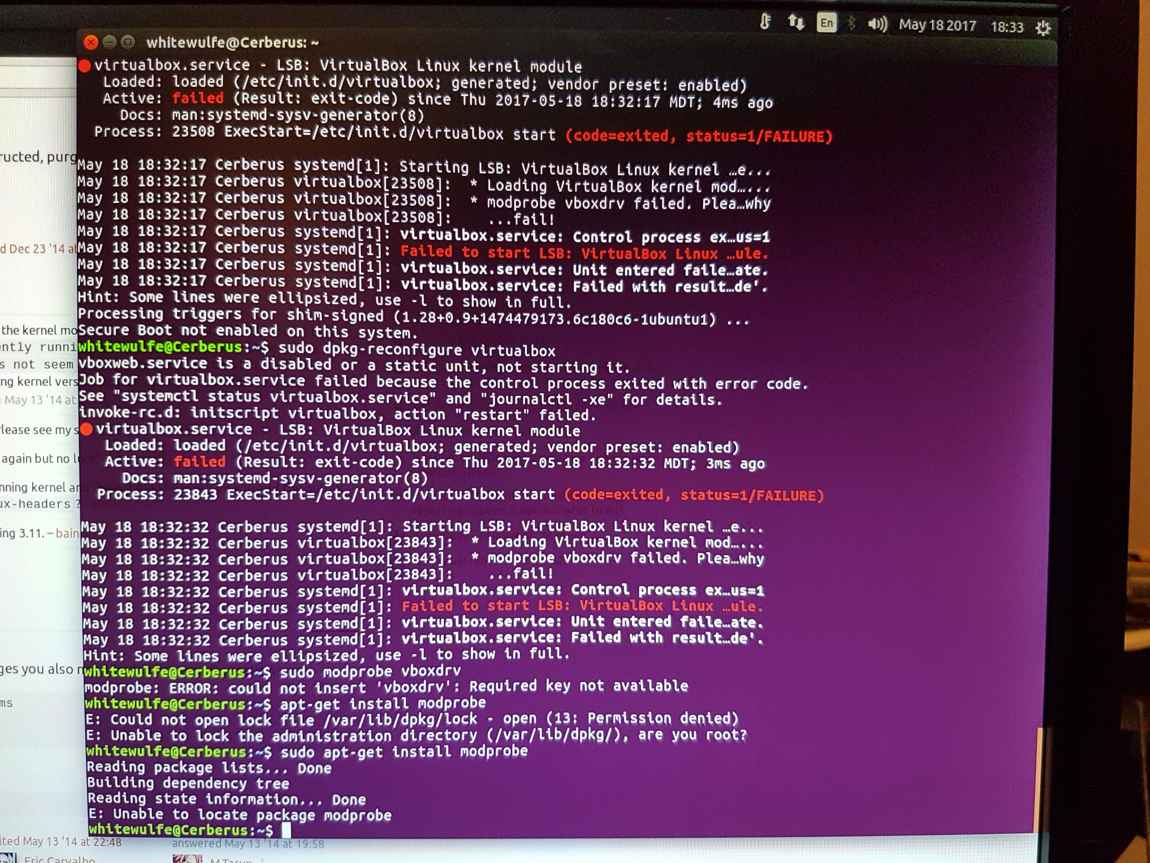 Ubuntu 17 04 and getting VirtualBox to actually be detected