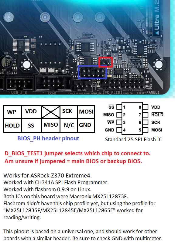 SPI Flash Header pinout (for use with 8-pin SPI flashing