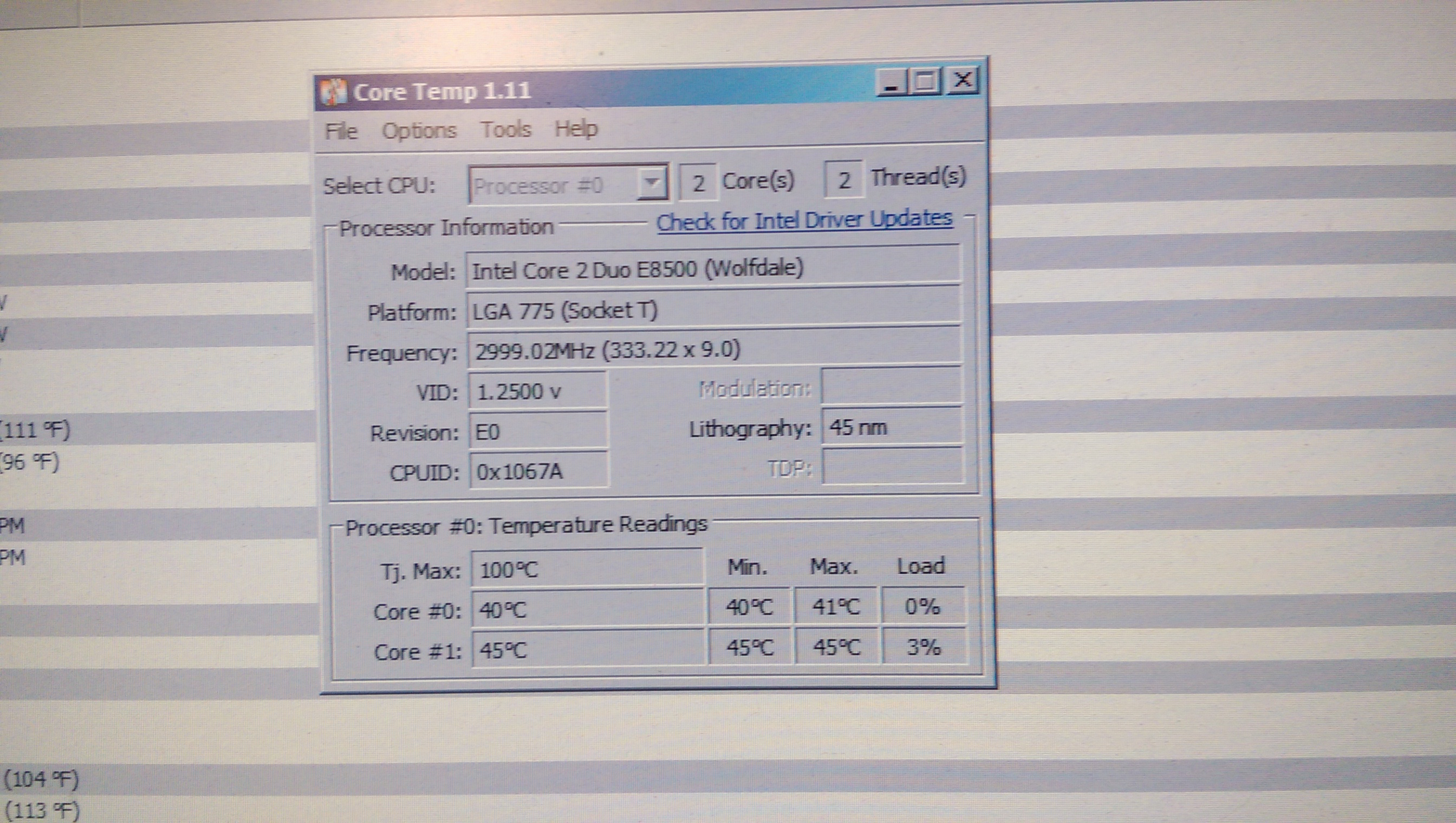 Are These Temps Ok For An E8500 At Stock Speeds Prosesor Reason Im Asking This Is Not Sure If I Applied To Much Thermal Paste When Put The New Cpu Cooler On