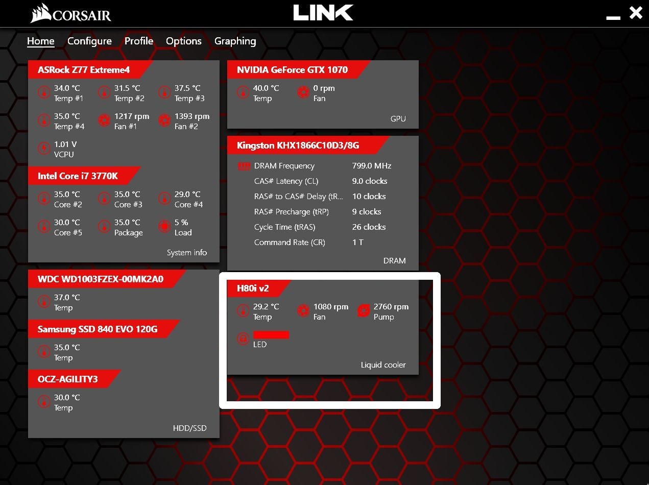 Corsair Link not showing the monitoring tile for fans/ pump/ LED