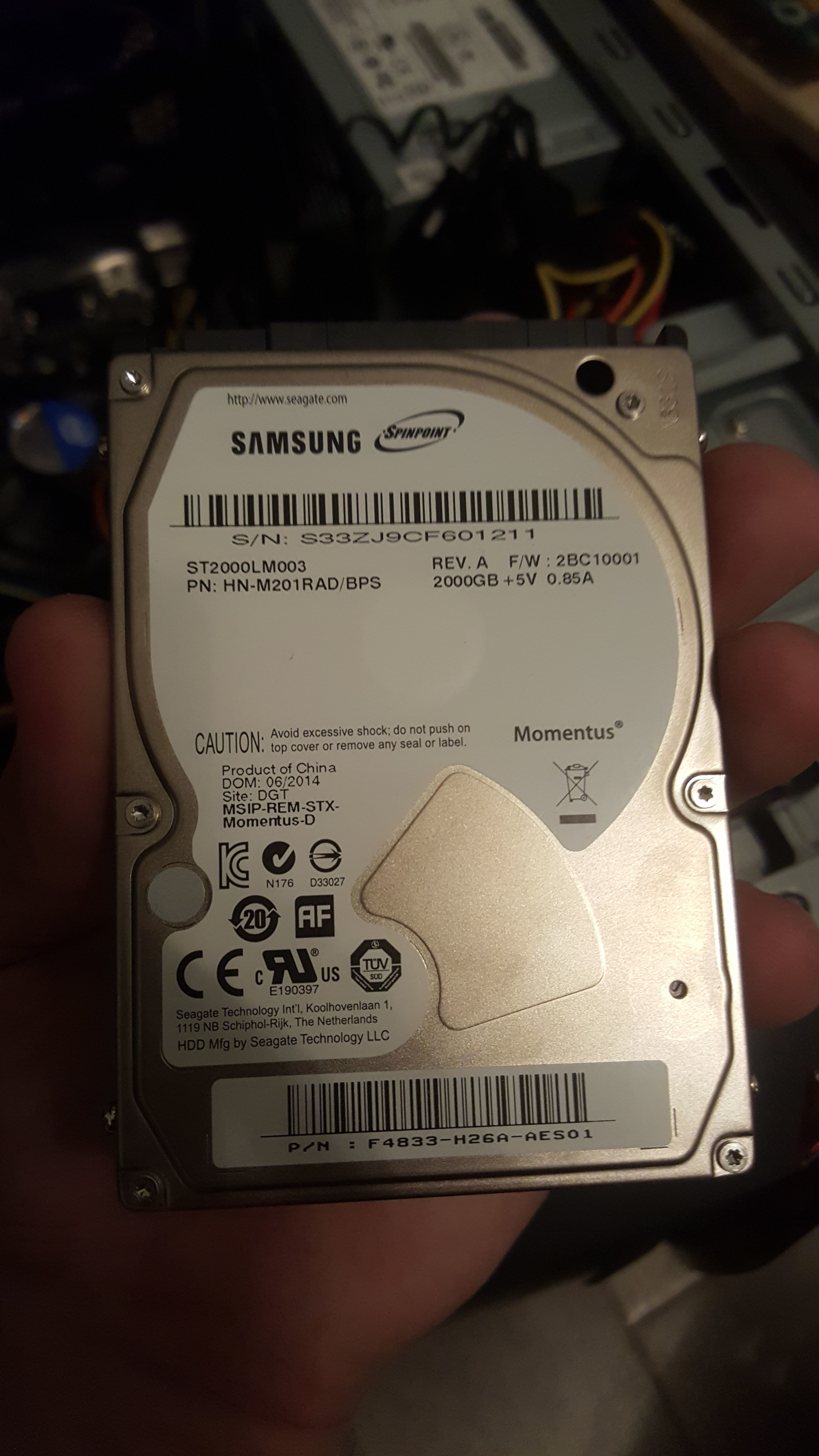 Cant get 2TB Lyve hard drive working as external/internal