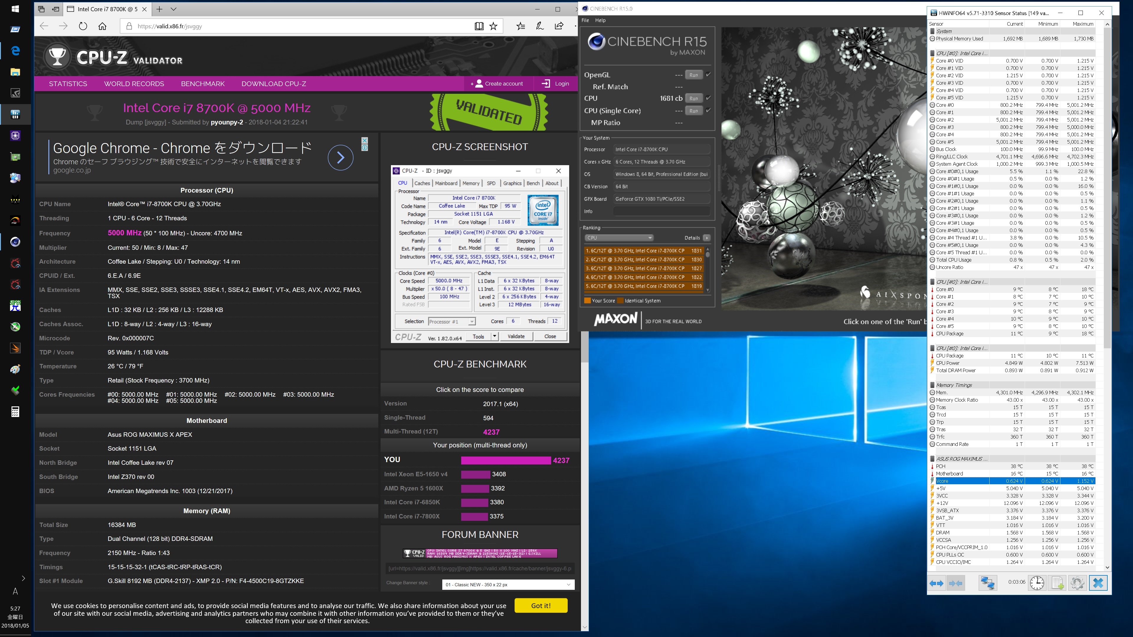 I7 8700k Overclock Results And Settings Page 191 Overclock Net